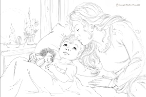 Tuck-In Kiss Coloring Page